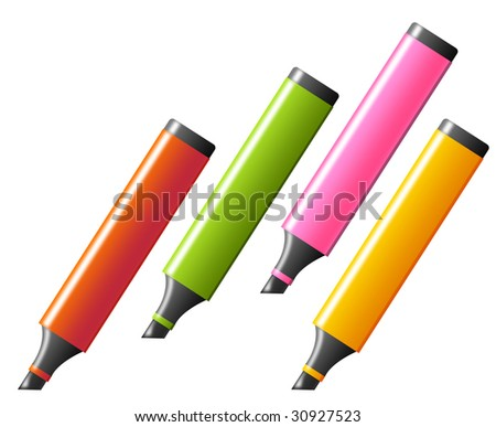 four fluorescent markers over white