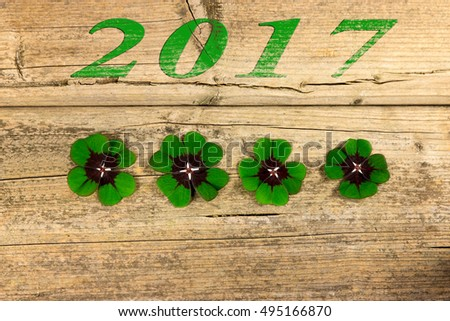 Four four-leaf clover leaves next to each other on a wooden table with the 2017 year
