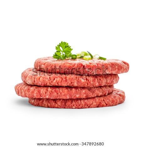 Four fresh hamburger slices on white isolated - stock photo