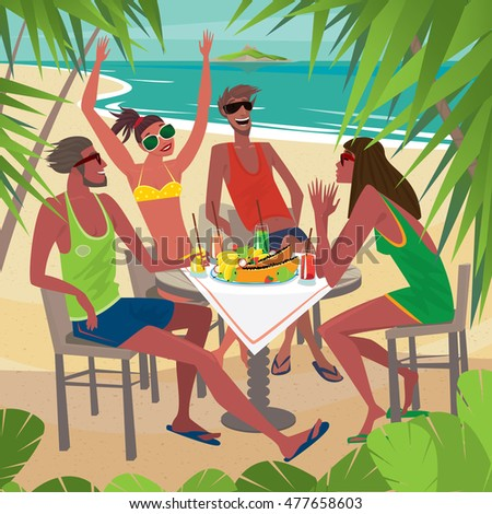 Four friends sitting at a table on the beach, talking and eating fresh tropical fruits, palm trees around. Beautiful sunny weather - Leisure or Friendship concept. Raster version of illustration