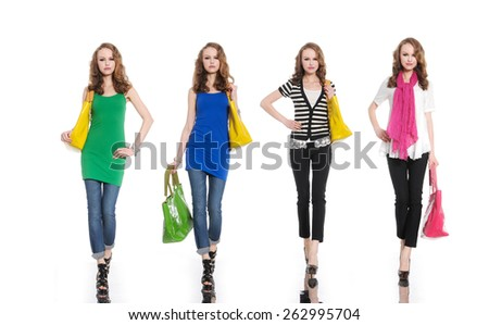 Four Full body young woman in bag with scarf posing  - stock photo