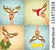 Four funny christmas reindeer - bitmap copy - stock vector