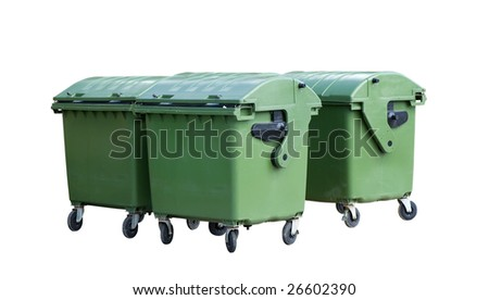 Four garbage containers. Green four wheeled trash cans isolated - stock photo