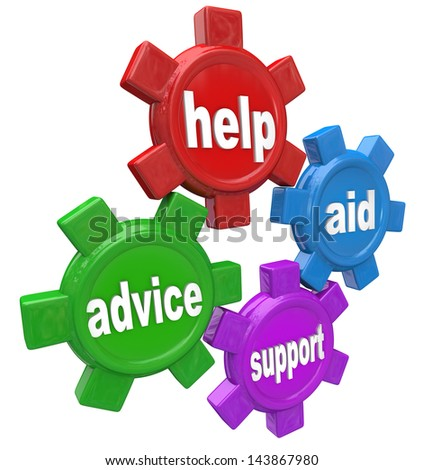 Four gears turning together with the words Help, Aid, Advice and Support to illustrate the assistance you can get from a helper such as customer service - stock photo