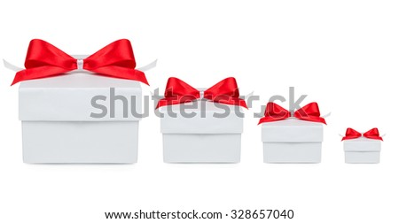 four Gift, gift box with a red bow on a white background - stock photo