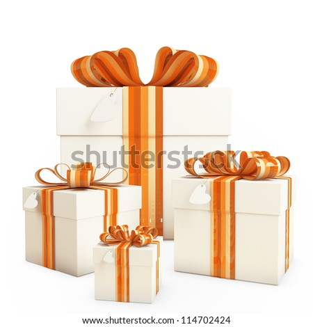 Four gifts boxes with Bow & heart tag - stock photo