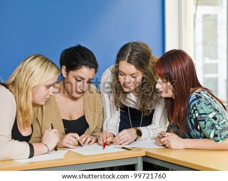 Four girls groupwork in the classroom
