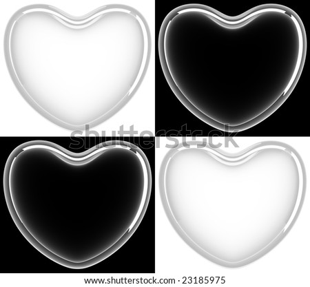Four glass hearts - stock photo