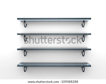 Four glass isolated empty shelves for exhibit - stock photo