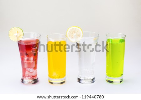 four glass of drink