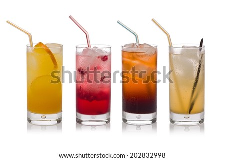 Four glasses of cold, fresh, homemade sodas with ice and drinking straws against a white background. Flavors include orange, raspberry, cola and vanilla ginger. - stock photo