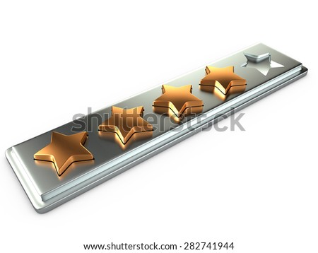 Four gold stars for ranking, 3D - stock photo