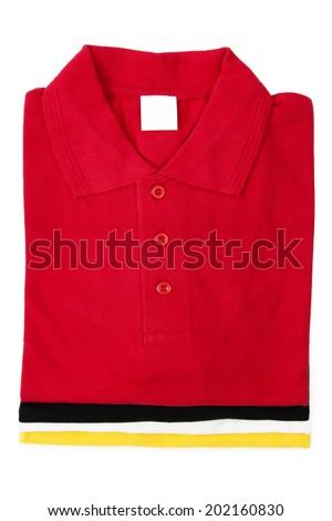 Four Golf Shirts Stacked, Isolated on White Background - stock photo