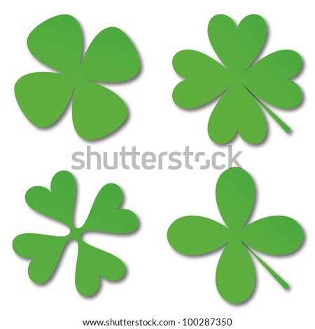 Four green cloverleafs on a white background - stock photo