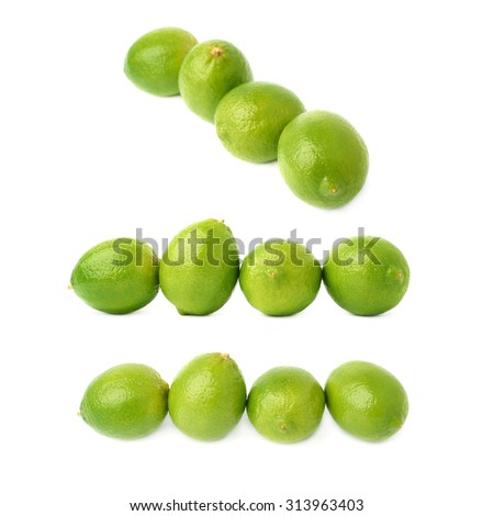 Four green limes fruits composition isolated over the white background, set of three different foreshortenings