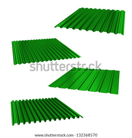 four green sheets of stainless steel on a white - stock photo