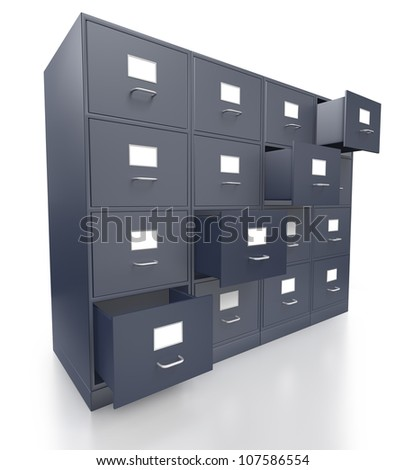 Four grey filing cabinets with open  drawer on a white background - stock photo