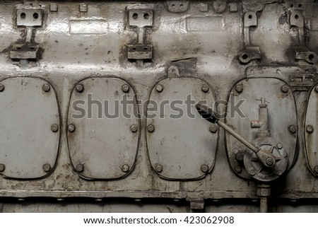 Four grunge metallic rusty doors with leverage - stock photo