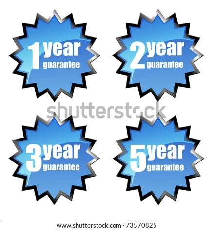 Four guarantee mark over white background, star illustration