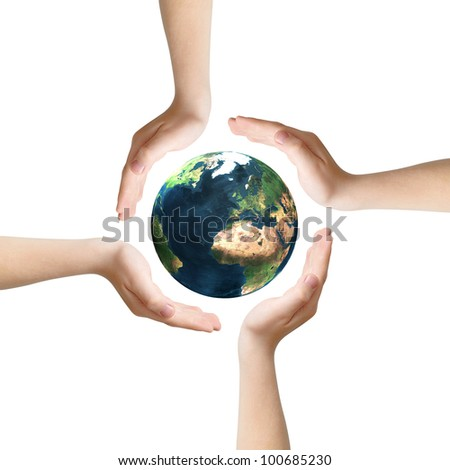 Four hands as symbol of care surrounding Earth, isolated on white, clipping path