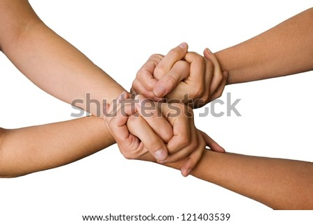 four hands hold each other, isolated