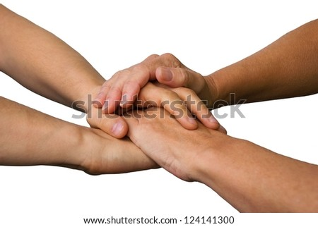 four hands symbolizing success, power, teamwork and strength, on white - stock photo