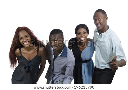 Four happy african people have fun, Studio Shot, Isolated