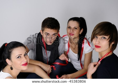four happy young people - stock photo