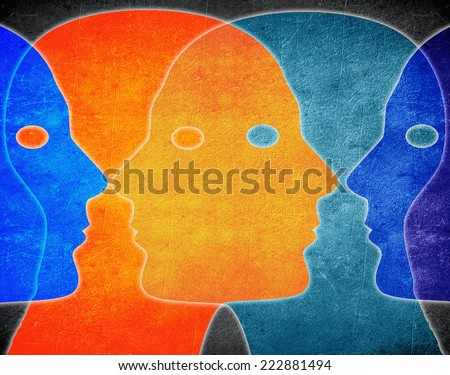 four heads colors digital illustration - stock photo
