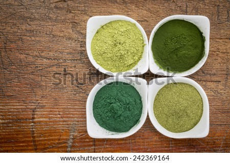 four healthy green dietary supplement powders (spirulina, chlorella, wheatgrass and moringa leaf) in white bowls on a grunge wood - stock photo