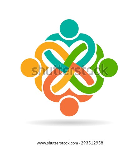 Four heart people logo - stock photo