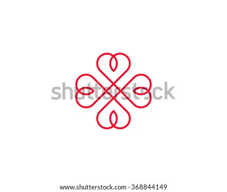 Four Hearts Symbol Heart Cross Logotype Stock Illustration 368844149