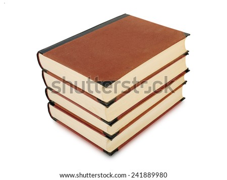 four heavy book tomes isolated, studio shot - stock photo