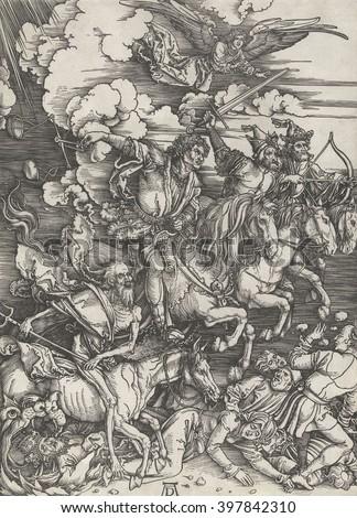 four horsemen apocalypse by albrecht durer stock