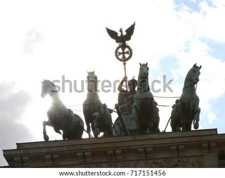 Four Horses Chariot Goddess Symbol City Stock Photo Image Royalty