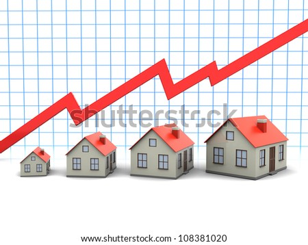 Four houses with red roofs with graph