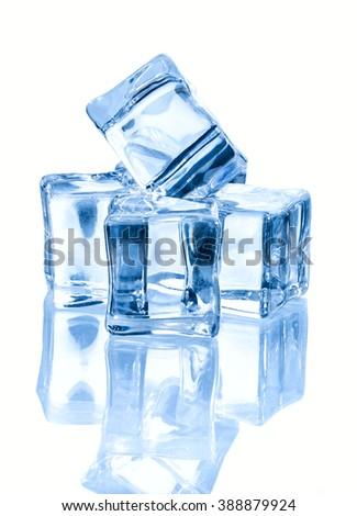 four ice cubes  isolated on white background. - stock photo