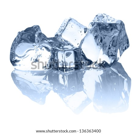 Four ice cubes on the white background with nice reflection - stock photo