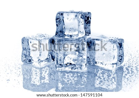 Four ice cubes on white background - stock photo