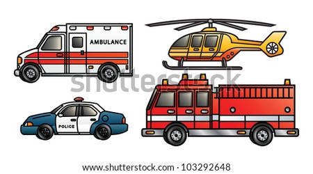 Four illustrations depicting various emergency vehicles. Raster. - stock photo