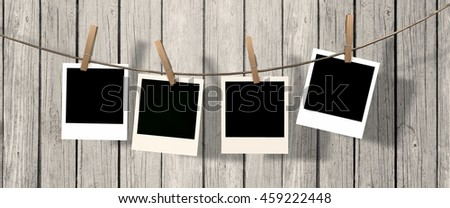 four instant photo hanging on the clothesline - 3d rendering