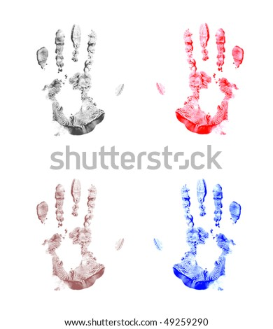 Four isolated painted handprints. Left and right. - stock photo