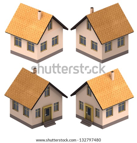 four isometric views on new real estate project illustration - stock photo