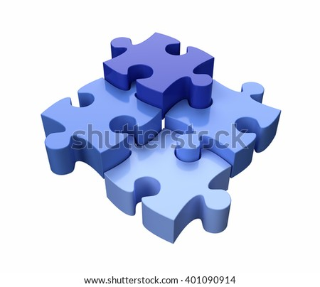 Four Jigsaw Puzzle Pieces Blue on White Background 3D illustration - stock photo