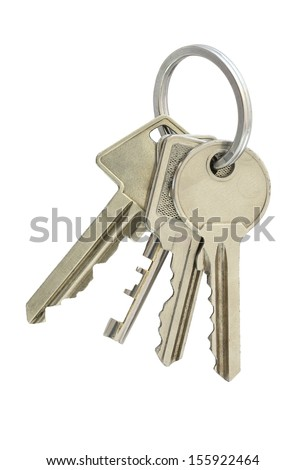 Four keys in single bunch, isolated on white. - stock photo