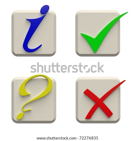Four keys with symbols of confirming, denying, the information and a question. - stock photo