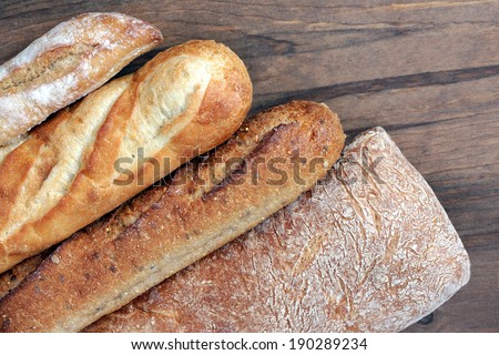 four kinds of rustic bread at market place - stock photo