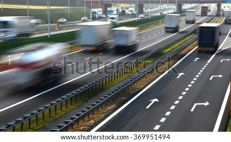 Four lane controlled-access highway in Poland.  - stock photo