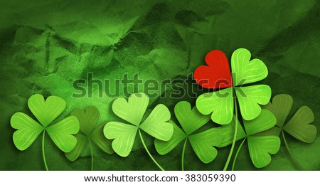 Four leaf clover and red heart background. St. Patrick's day background. Clover background - stock photo