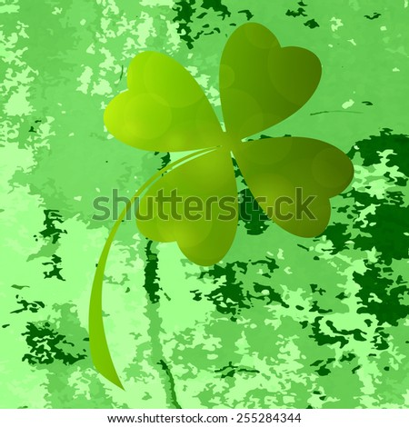 Four- leaf clover - Irish shamrock St Patrick's Day symbol. Useful for your design. Green  clover labels. St. Patrick's day green icons  on green grunge background. - stock photo